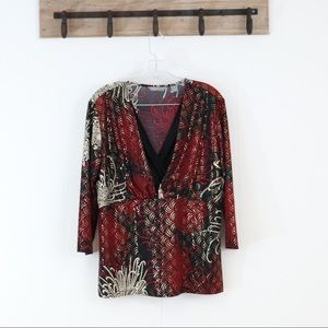 Investments metallic floral print blouse